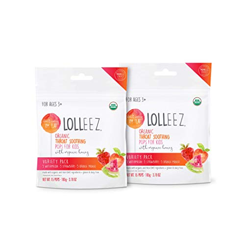 Lolleez Organic Throat Soothing 30 Pops for Kids with Organic Honey - 2 pk Multi Pack of Watermelon, Strawberry and Orange Mango Flavors
