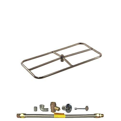 Spotix HPC Rectangle Fire Pit Burner Kit (FPSR36X18KIT-NG-MSCB), 36X18-Inch Burner, Match Light, Natural Gas by Spotix