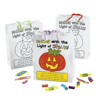 Color Your Own Christian Pumpkin Gift Bags - Religious Crafts & Color Your Own -