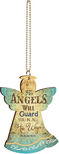 His Angels Will Guard You Vintage Look Wood Car - Hanging Angel