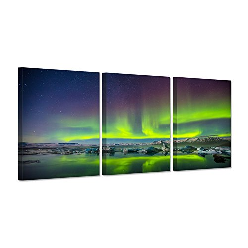 Hello Artwork - Canvas Print Wall Art Aurora Borealis Iceland Landscape Northern Lights Photo to Canvas Contemporary Painting Giclee Artwork Modern Home Decor 3 Panels Wood Mounted Ready to - To Us From Iceland Shipping