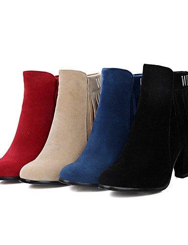 XZZ/ Damen-Stiefel-Kleid-Kunstleder-Blockabsatz-Modische Stiefel-Schwarz / Blau / Rot / Beige black-us4-4.5 / eu34 / uk2-2.5 / cn33