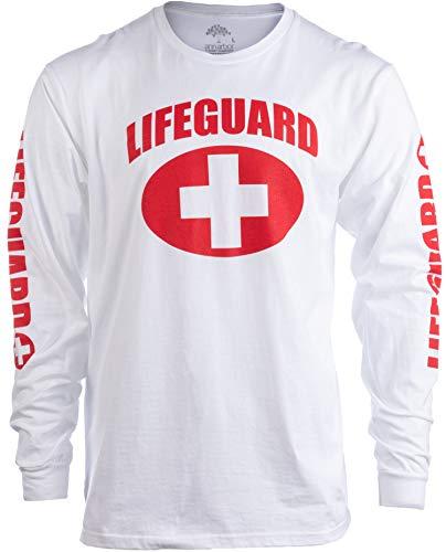 Lifeguard | White Guard Unisex Uniform Costume Long Sleeve T-Shirt for Men Women - White, L