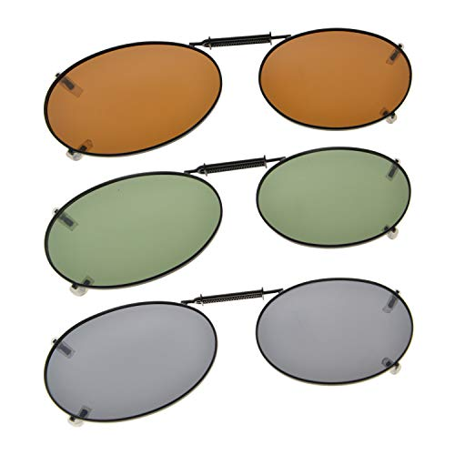 Oval Frame Rim Polarized Lens Clip On Sunglasses 52mm Wide x 34mm Height Millimeters