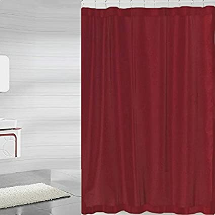 BH Home Mildew Free Polyester Fabric Water Repellent Shower Curtain Liner Burgundy