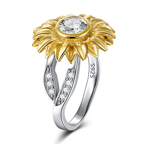 DALARAN Sterling Silver Ring Sunflower Jewelry Gift for Women Cubic Zirconia Inlaid Leaf Band Size 7