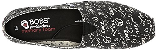 Plush Flat Words Skechers Fashion Black from Slip Women's On BOBS Tw7fFt