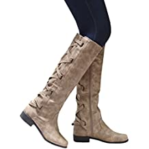 Syktkmx Womens Boots Knee High Leather Riding Cowboy Low Heel Strap Lace Up Boots