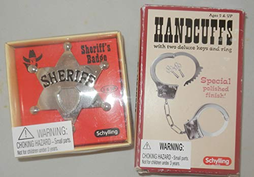 Schylling Classic Metal Handcuffs & Law Man Sheriff's Badge Gift Set Bundle - 2 Pack -