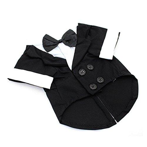 [365mx®Pet Clothes Puppy Jumpsuit Shirt Dog Wedding Tuxedo Suit with Bow Tie Pet Clothing Coat] (Dapper Dog Tuxedo Pet Costumes)