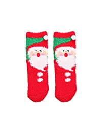 Christmas Series of Children's Plush Non-Slip Socks, Boys and Girls Cartoon Gift Box (Color : Green, Size : 1-3 Years)