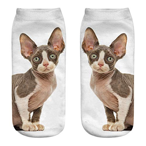 FEDULK Womens Crew Socks Cute Cat Printed Elastic Soft Novelty Crazy Socks for Gifts(C, One Size) -