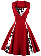 ANCHOVY Womens Retro Sleeveless Floral Print 1950s Party Rockabilly Swing Dress C62