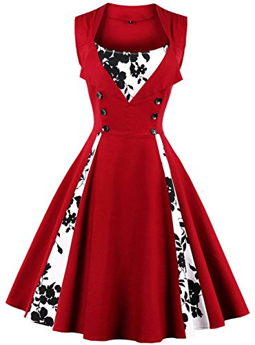 Womens Rockabilly Swing Dress 1950s Retro Sleeveless Floral Print C62 (Wine red, ()