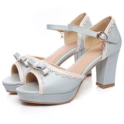 Bow Blue 7 Peep Toe Sandals TAOFFEN Women FXIZqxS