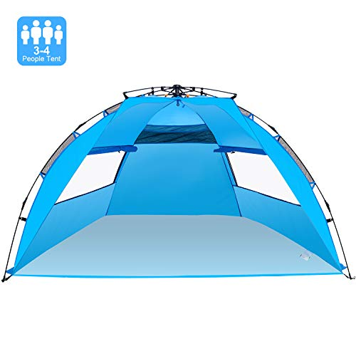 Victostar Easy Setup Beach Tent, Automatic Pop up Instant Sun Shelter with UPF 50 UV Protection for Family Outdoor Beach Camping
