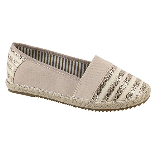 Stiefelparadies Damen Espadrilles Bast Slipper Glitzer Streifen Sommer Schuhe Flandell Nude Aline