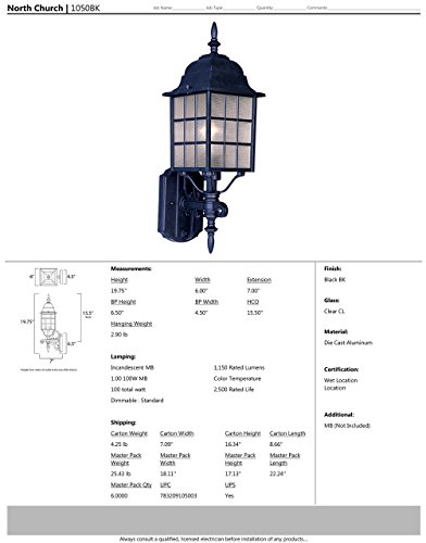 Maxim 1050BK North Church 1-Light Outdoor Wall Lantern, Black Finish, Clear Glass, MB Incandescent Incandescent Bulb , 100W Max., Dry Safety Rating, Standard Dimmable, Glass Shade Material, 5750 Rated Lumens by Maxim Lighting (Image #1)
