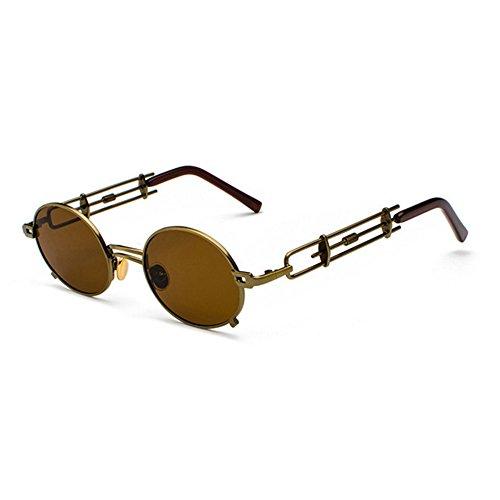 Eyewear Marco Glasses Mujeres de en estuche sol Gafas lente Marrón de Punk para Vintage Steam marrón círculo hombres Retro Sun metal con de Lentes inspiradas redonda sol con el Hnwaq6Fg6
