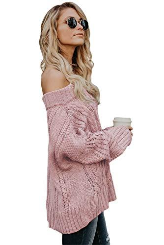 Suéter Escote Sweater Cuello Jersey Pullover Knitwear Rosa Ochos Mangas Manga De Murciélago Larga Punto Bardot Top Durciélago F41nrF