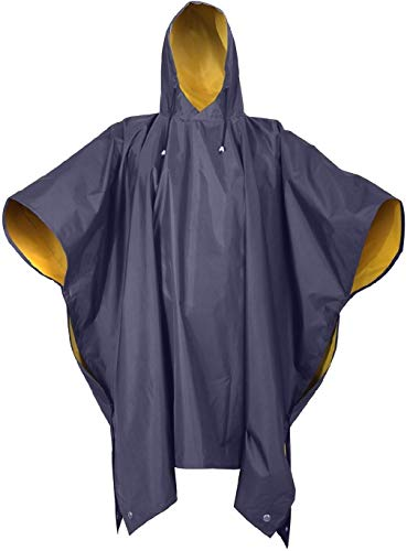 - Rain Poncho Reversible PVC Poncho Blue Black Green Yellow