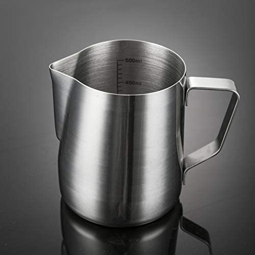 500ML Jarra de espuma de leche jarra de espuma de leche de acero inoxidable Taza de caf/é espresso con medida