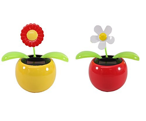 Set of 2 Dancing Flowers,1 Red Sunflower in Yellow Pot + 1 White Daisy in Red Pot Solar Toy Flowers Great Holiday Car Dashboard Office Desk Home Decor( KT1)