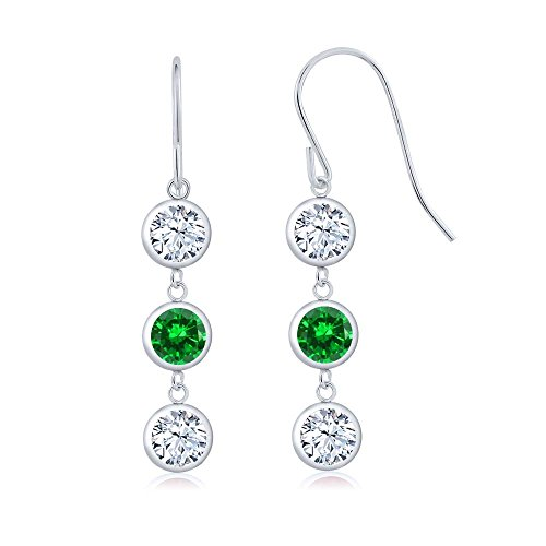 (Gem Stone King 3.68 Ct Round White Topaz Green Simulated Emerald 925 Sterling Silver 3 Stone Dangle Earrings )