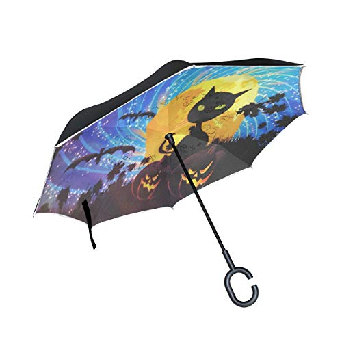 Ucsb Halloween Parties (Reverse Umbrella Halloween Party With Cat Windproof Double Layer Inverted Umbrella Anti-UV Protection with C-Shaped Handle for Car Outdoor)