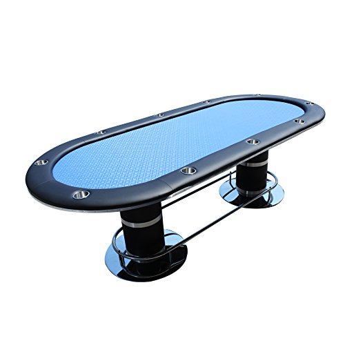 IDS Poker Poker Table for 10 Players Oval 96 x 43 Inch Cup Holders Blue High Speed Cloth Stainless Steel Pedestal Leg ()