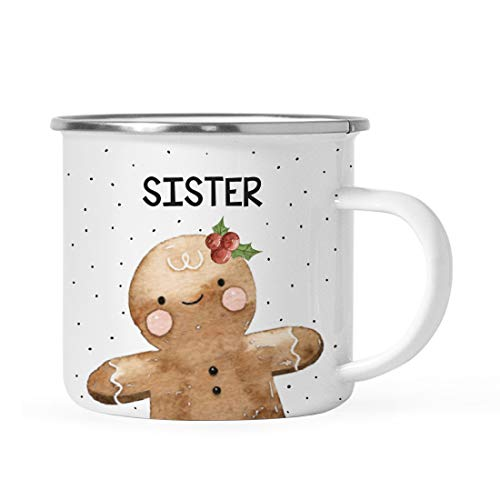Andaz Press 11oz. Stainless Steel Campfire Coffee Mug Gag Gift, Watercolor Gingerbread Girl, Sister, 1-Pack, Enamel Metal Camping Cup Christmas Holiday Hot Chocolate Cup Present Ideas for Kids Her
