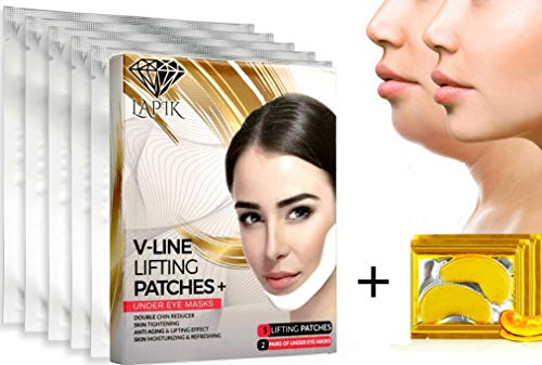 Double Chin Reducer - V Line Face Chin Up Lifting Mask + Free Eye Patches, Neck Lift V Shape Up Contour, Vline Face Lift Mask, Korean Double Chin Remover, Face Slimmer - Firming Moisturizing Mask 7pcs