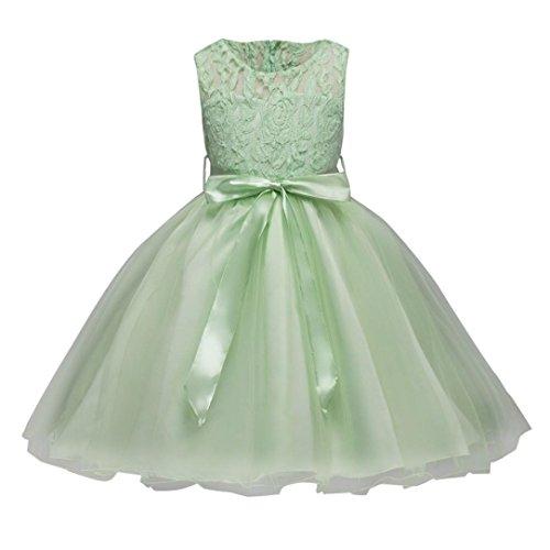 Robe de Filles,LMMVP Robe de Demoiselle Princesse Formal Pageant Robe de Demoiselle d'honneur Pour le Mariage de Vacances (120(4-5T), doux rose) Mode vert