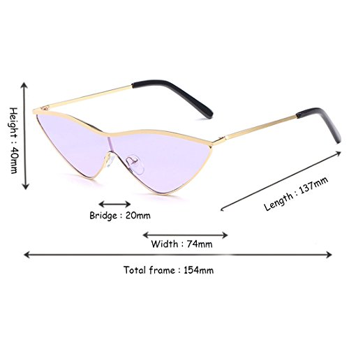 pequeñas pieza lente Yefree de verde dama sol metal gafas de gafas mujer Golden de gato una Purple Triangle rosa mujeres sol ojo de uv400 P6qPU