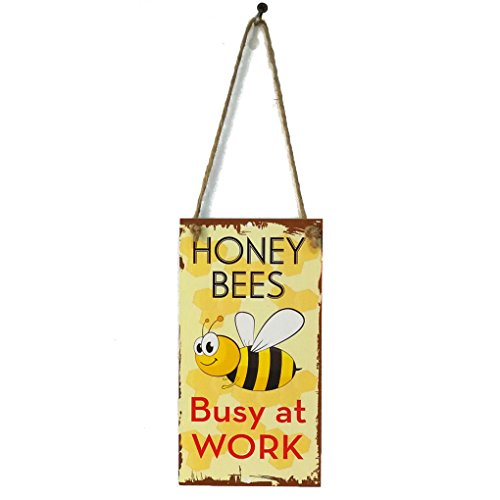 MuLuo Spring Bee Busy At Work Letter Wooden Plaque Wall Decor Hanging Pendant Sign Board for Garden Plank Decoration