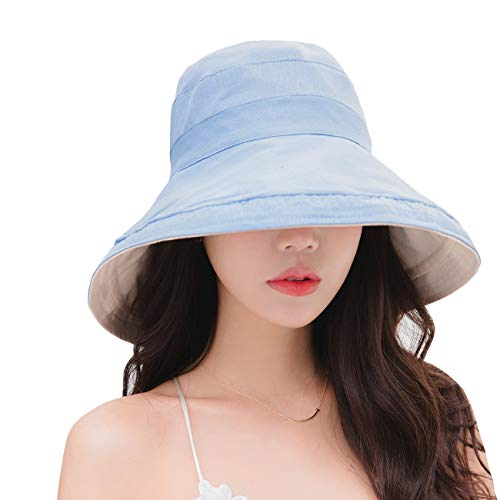 (FaroDor Women Packable Reversible Bucket Hat UV Sun Protection Wide Brim Summer Beach Cap Blue)