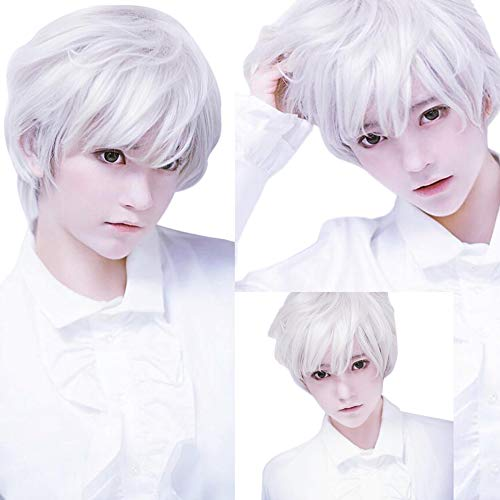 (Hot Sale!OWMEOT Adult Mens Guy Male Brown Wigs Short Straight Synthetic Hair Middle Part Wig for Guy Natural Looking Cosplay Anime Wig (White))