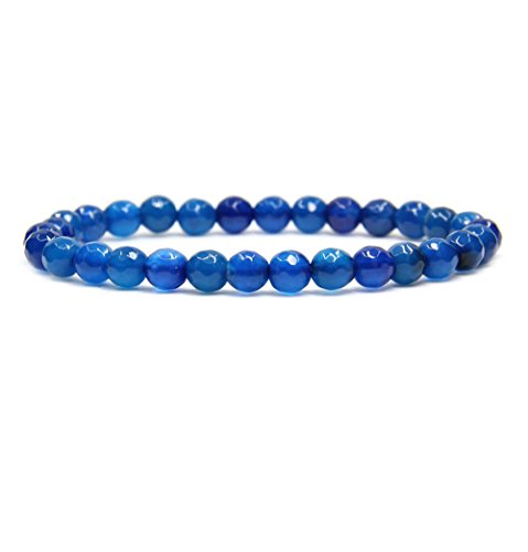 Natural Faceted Blue Agate Gemstone 6mm Round Beads Stretch Bracelet 7