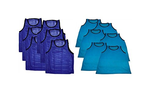 Athletic Football Vest - BlueDot Trading Soccer Training Vests/Pinnies (12 Pack), Youth, Light Blue/Dark Blue