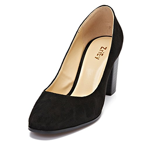 ZriEy women's Pointed Toe Chunky heel Pumps for Work Dress Party Black size 6.5 Chunky Leather Pumps