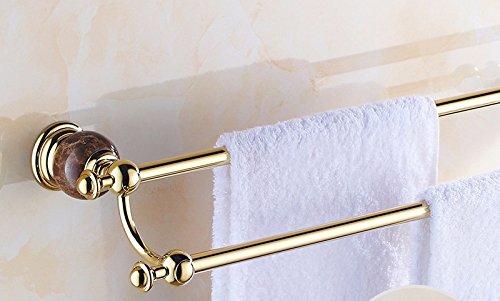 - Hlluya Bathroom Accessory Set Double bar, Towel bar, Bathroom, Wall, Marble and Brass, Gold