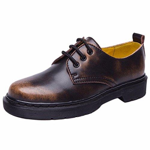 QIYUN.Z Mujeres Del Estilo De La Escuela De Inglaterra Baja Eje Martin Solos Zapatos Con Cordones De La Vendimia Marron Mate