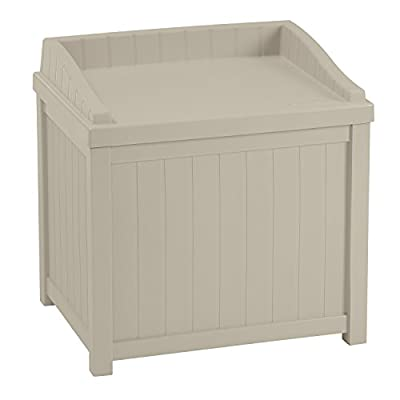 Suncast SS1000 Premium Garden Storage Seat Box Taupe