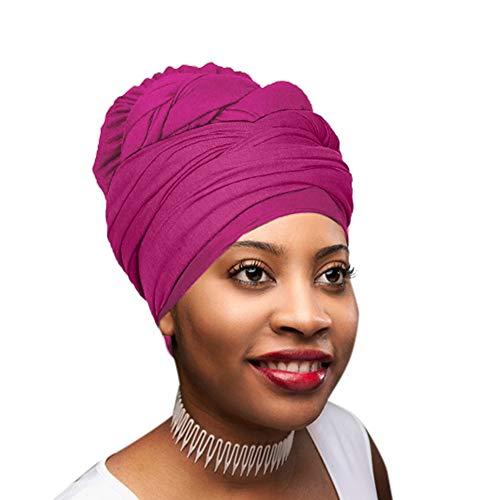 Novarena 1PC/2PC/4PC Solid Colors Stretch Jersey Knit Headwraps & KENTE African Print Head Wraps Hair Scarf Turbans Tie Hat