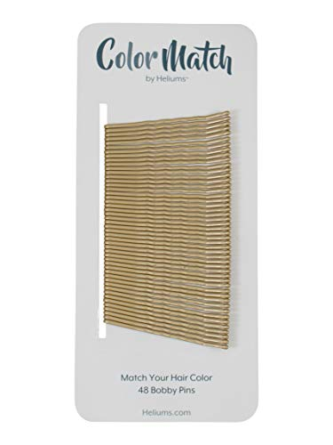 Gold Premium Bobby Pins for Medium Blonde Hair Color Match, 2 Inch Wavy - 48 Count