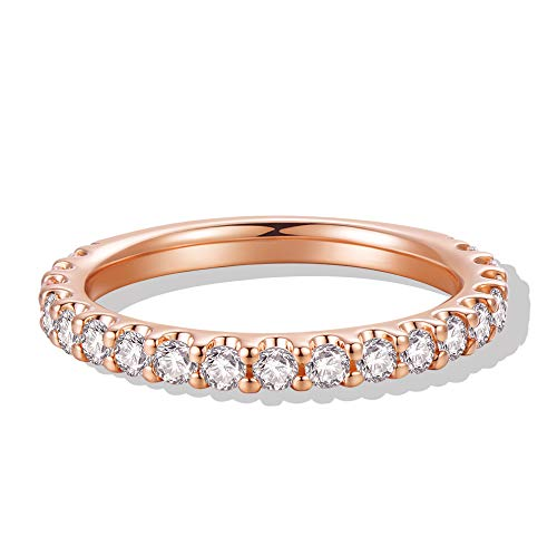 3mm 14K Rose Gold Plated Silver Simulated Diamond Cubic Zirconia CZ Half Eternity Wedding Band (9)