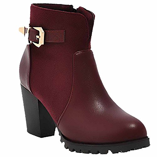 AgooLar Women's Solid Soft Material High Heels Zipper Round Closed Toe Boots Claret tNmG2eUD1