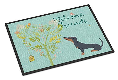 Caroline's Treasures Welcome Friends Black Tan Dachshund Doormat 18hx27w Multicolor (Mat Dachshund Door)