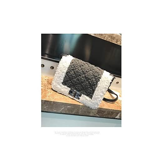 Women Bags Winter Fall Polyester Fur Shoulder Bag Buttons Feathers / Fur for Casual White Black Blushing Pink Gray Brown