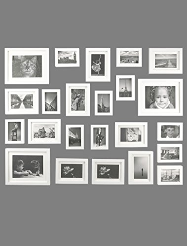 Solid Wood Photo Gallery Wall Frame Set - 23 Frames - GLASS Window- With White Picture Mats- Frame Width 2cm - Overall Size: 195 x85cm-WHITE
